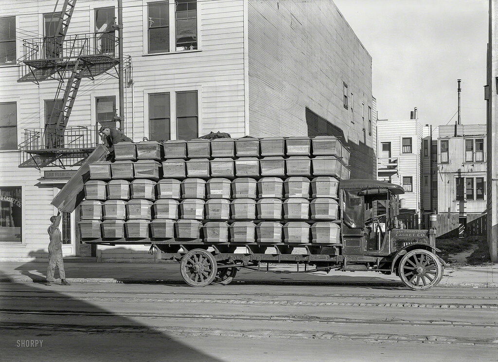 Circa 1918. Federal truck -- San Francisco Casket Co. Makers of the box you'll go in