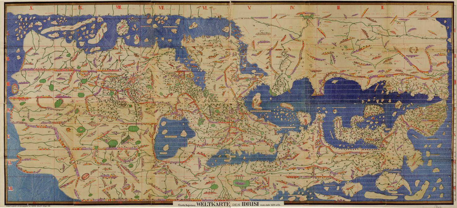 Мухаммад аль-Идриси — знаменитый арабский географ, автор этой карты, составленной по инициативе коро