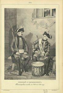 694. РЯДОВОЙ и БАРАБАНЩИК Канонирского полка, с 1763 по 1786 год.