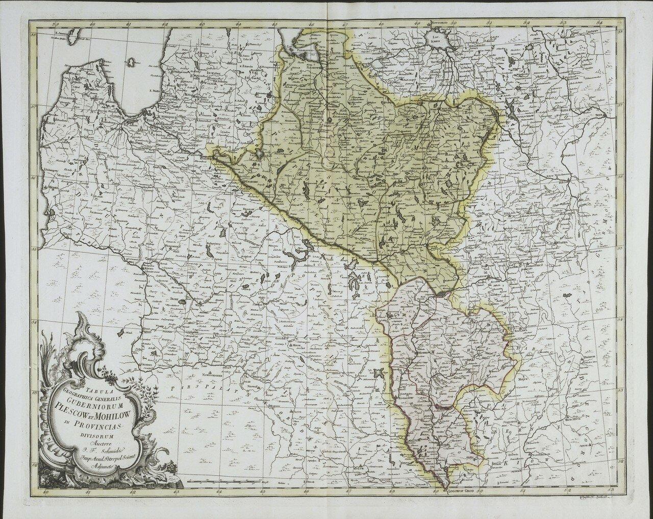 1750. Карта Псковской и Могилевской губерний