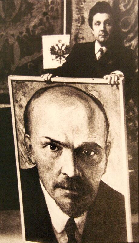Глазунов с портретом Ленина. 1969.