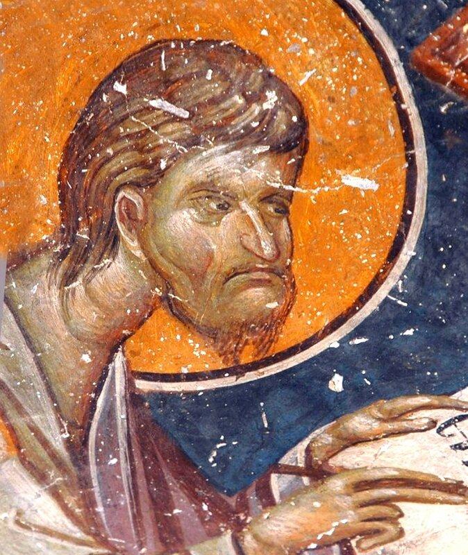Святой Апостол и Евангелист Лука. Фреска в церкви Св. Николая Орфаноса в Салониках, Греция. XIV век.