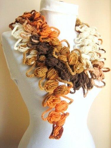 объемное вязание крючком шарфы .