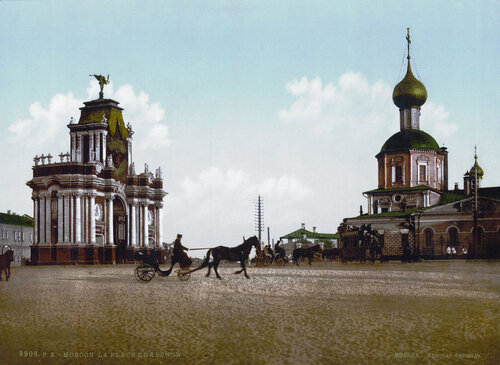 19th-century postcard of the Red Triumph Gates in Moscow