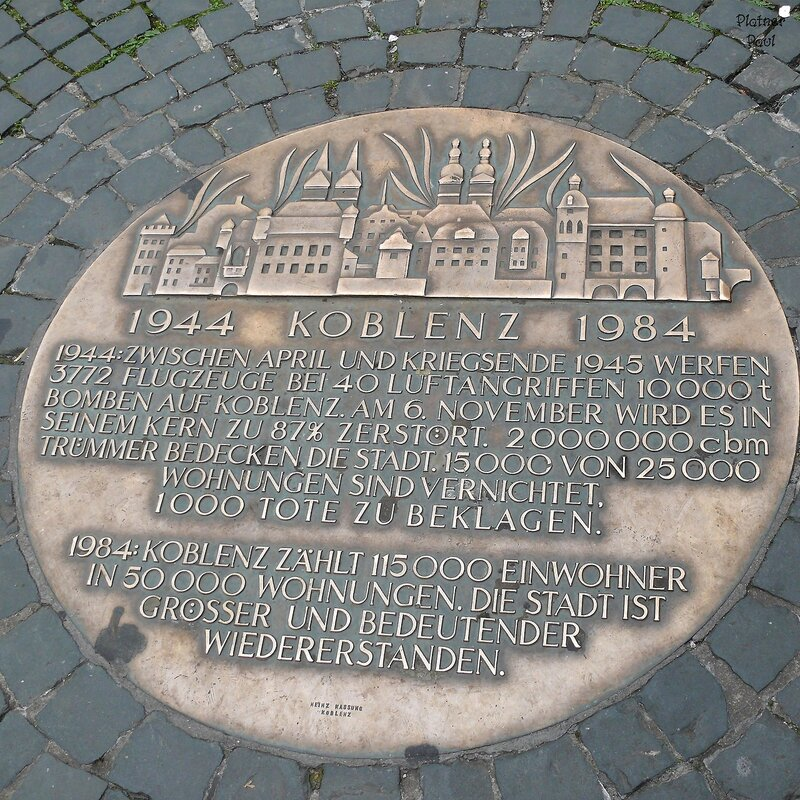 Люки из... Кобленца (Германия) и здесь написано, что к концу войны город был разрушен на 87%, 3772 самолета практически стерли город...