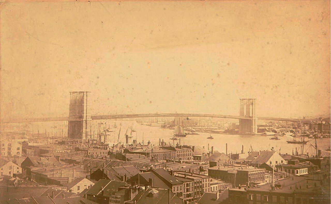 1885. Панорама Бруклинского моста в Нью-Йорке