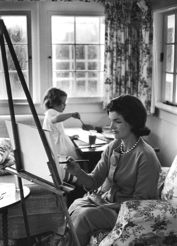 Jackie Kennedy Onassis painting with daughter Caroline.September 13, 1960