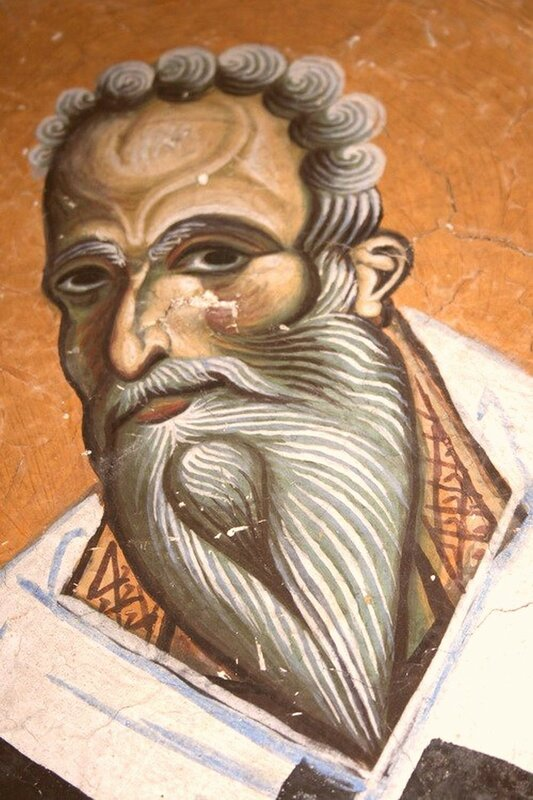 Святой Преподобный Ахиллий, Епископ Ларисийский. Фреска церкви Св. Георгия в Курбиново, Македония. 1191 год.