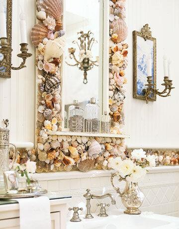 декор ванной ракушками декор зеркала