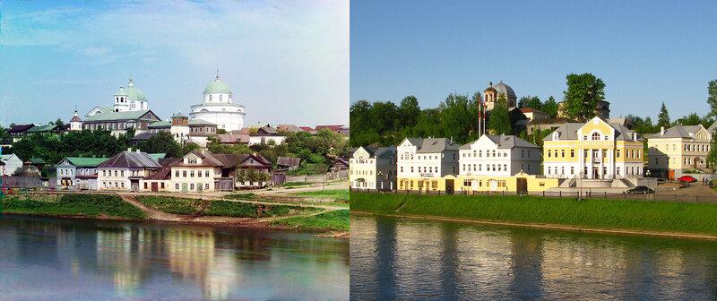 Воскресенский женский монастырь с правого берега реки Тверцы. г. Торжок в 1910 и 2010 гг.