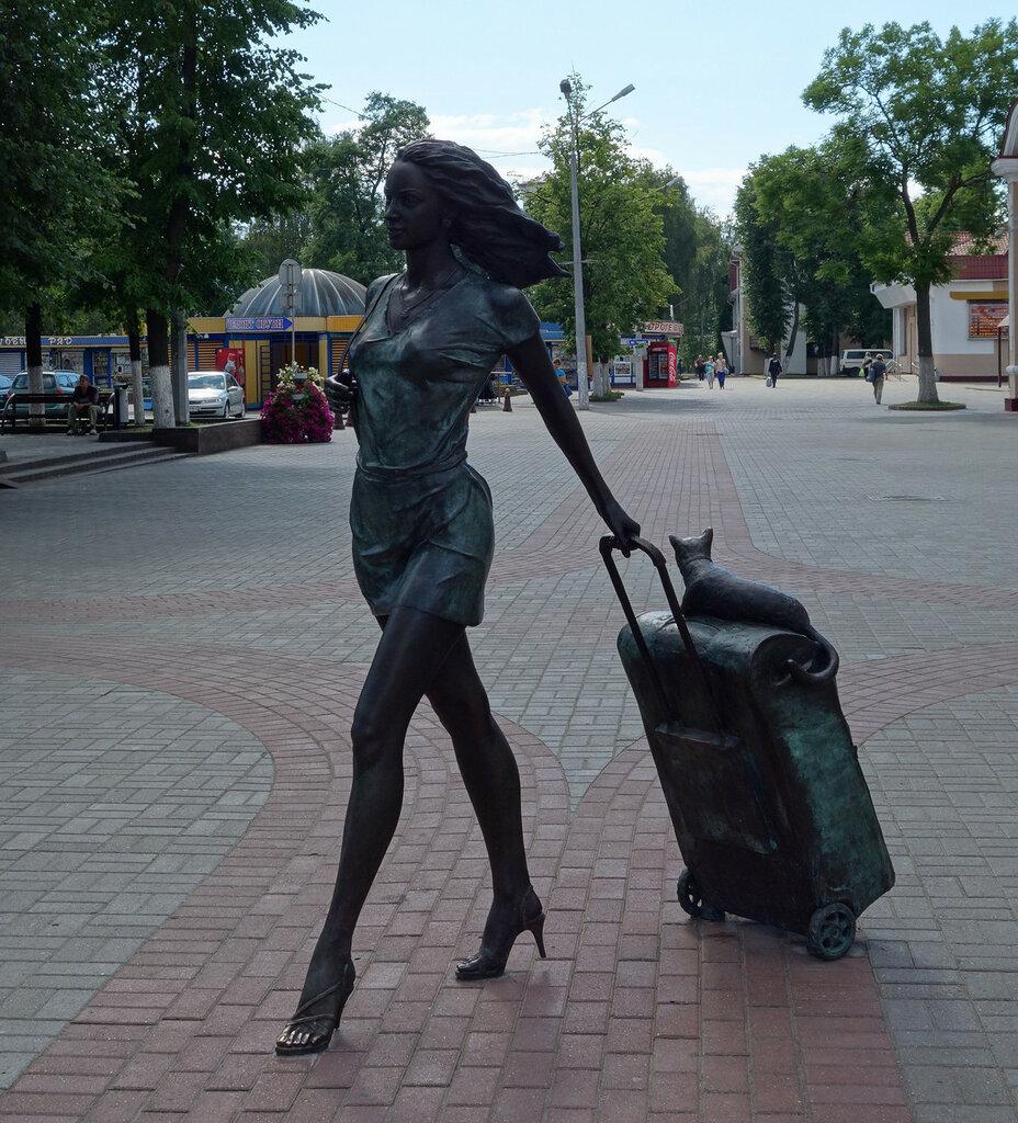 девушка, багаж и кошка