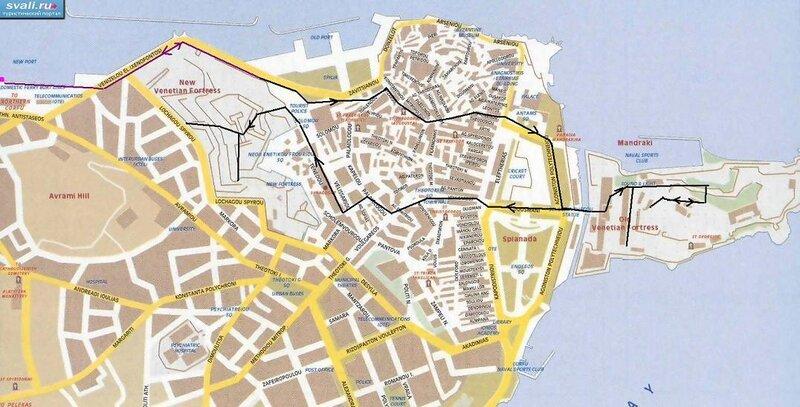 Подробная Карта Остров Корфу