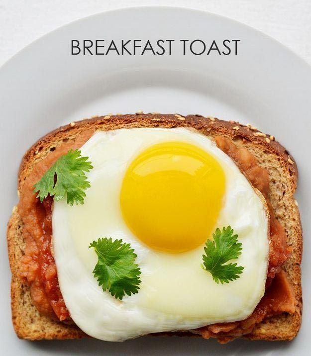 6. Тушеная фасоль + соус сальса + кориандр + жареное яйцо