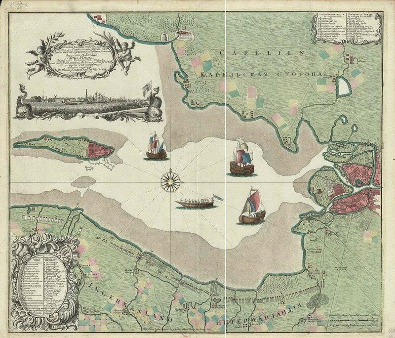 Финский залив от Кронштадта до Санкт-Петербурга с обозначенными поселениями по берегам залива. 1742 год.