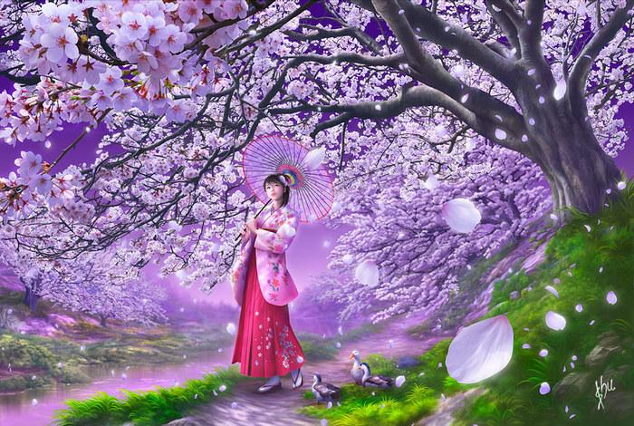 японские мотивы 3, восток, япония, природа, пейзаж, девушка.