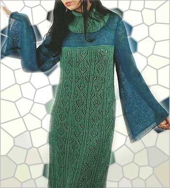 Платье связанное спицами