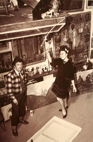 И.С.Глазунов и Г.Л.Брежнева в мастерской художника. Москва. 1971.