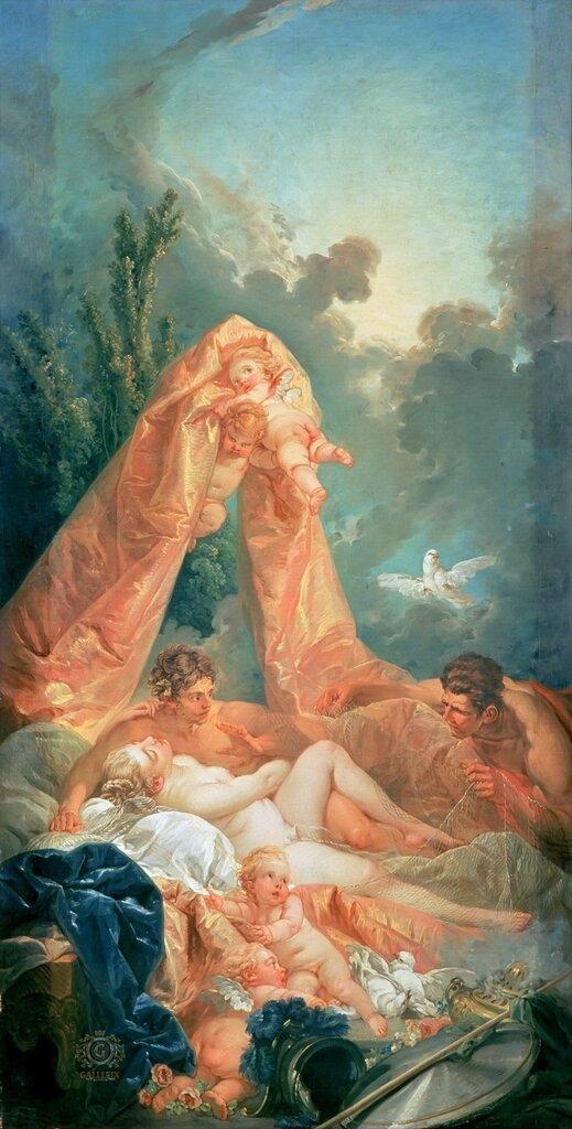 Франсуа Буше: Марс и Венера, застигнутые Вулканом  1754. 164х71. Собрание Уоллес, Лондон