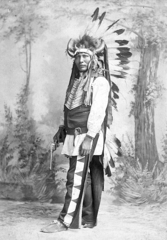 Flies Above, Chief of the Cut-Off Sioux, member of Buffalo Bill's Wild West Show, 1886
