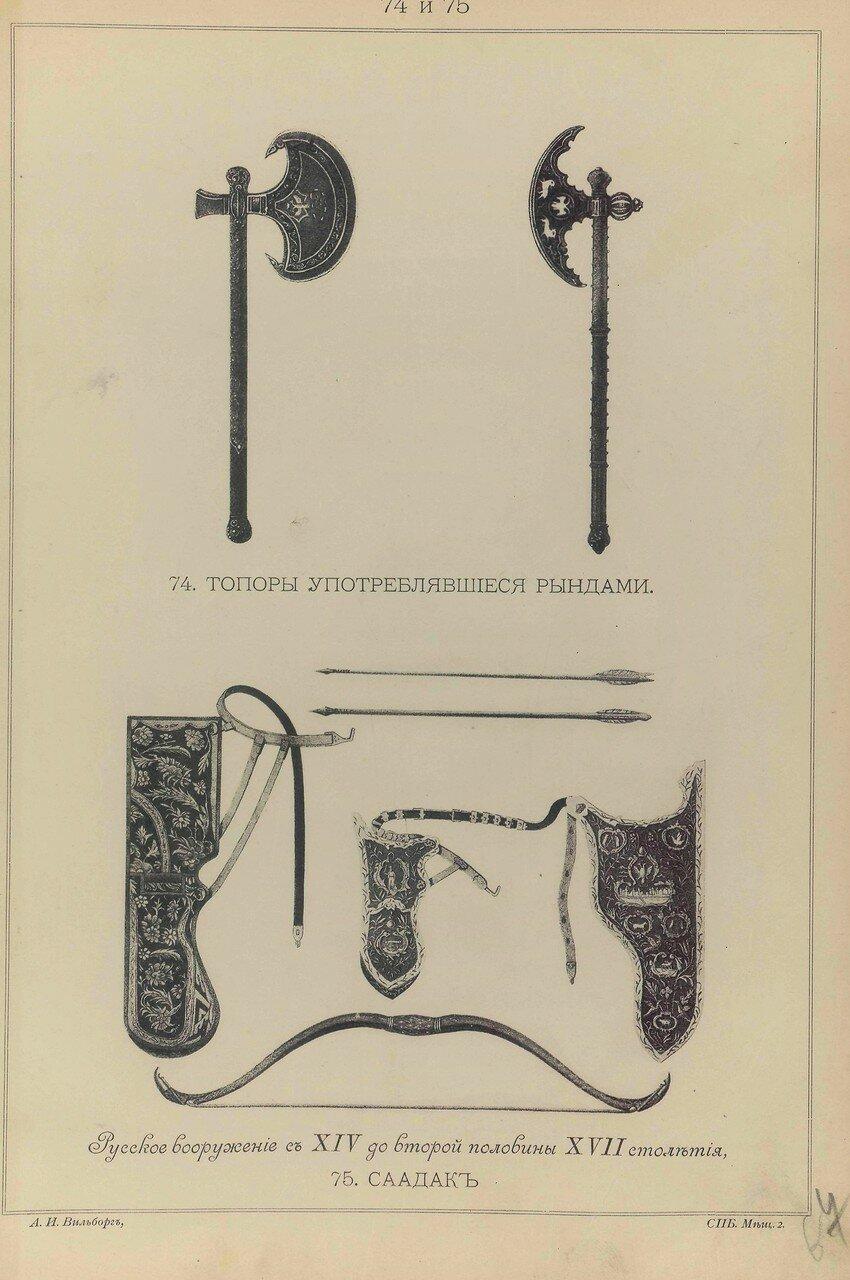 74-75.  Русское вооружение с ХIV до половины ХVII столетия. Топоры, употреблявшиеся рындами и саадак