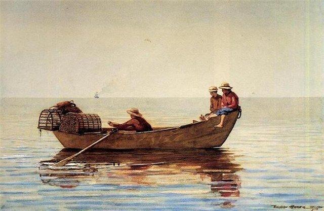 У.Хомер Три мальчика в лодке с сетями для ловли лобстеров 1875 г.