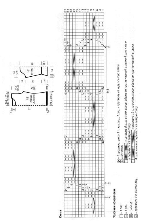 Бесплатная схема джемпера спицами