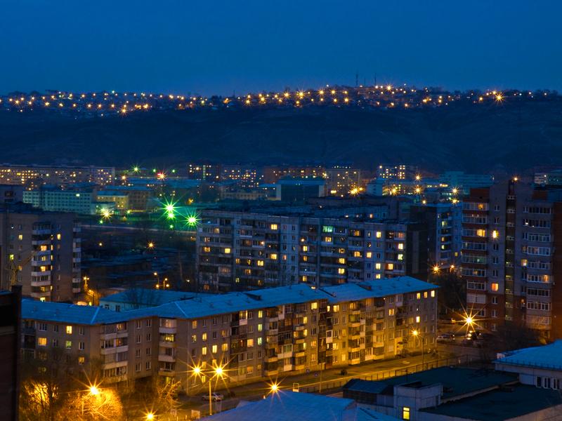Огни вечернего Красноярска