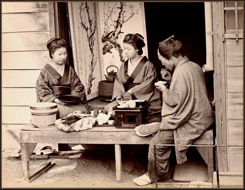 Ретро Япония.Гейши обедают