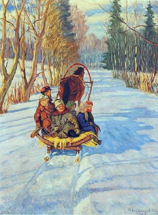 Дети в санях зимой. 1914.jpg