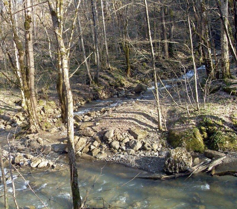 Бег реки весной в горах