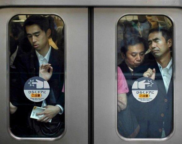 Токийское метро,фотограф Michael Wolf