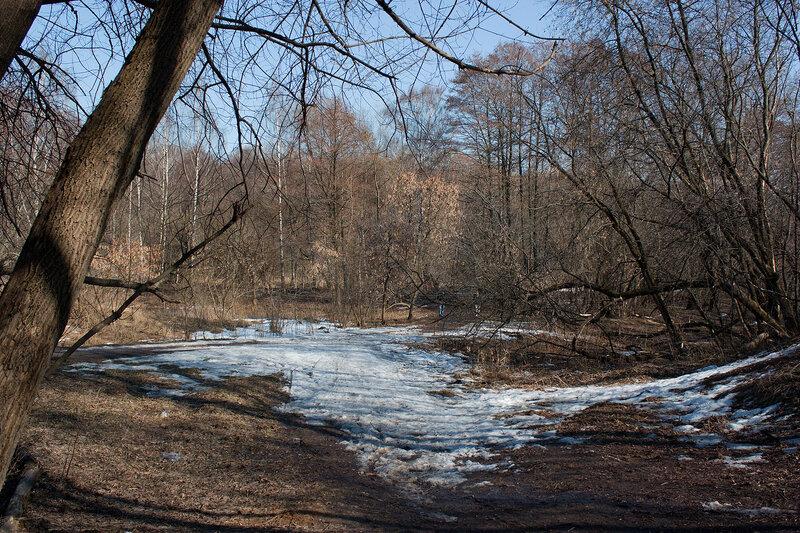 Снежная низина у входа в парк