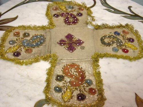1800 Cross, embroidered with scan and bugles and beads.