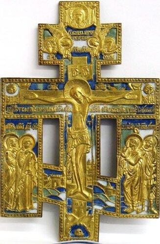 Крест -рапятие.Мсп, литье, трехцветная эмаль. 23Х14,5. Россия, XIX век