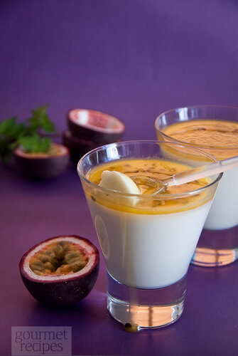 Coconut panacotta with passion fruit