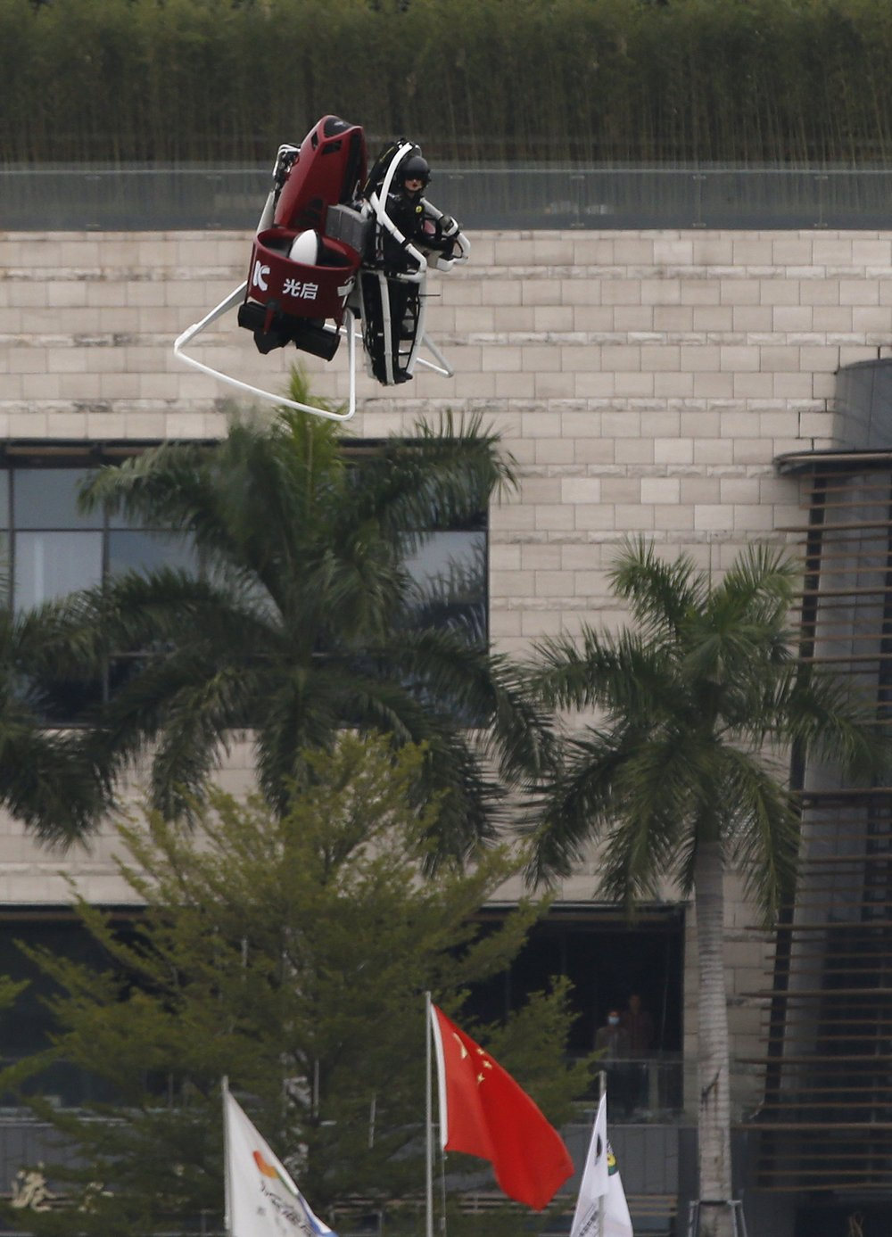 Michael Read from New Zealand-based Martin Aircraft flies on a Martin Jetpack during a demonstration in Shenzhen