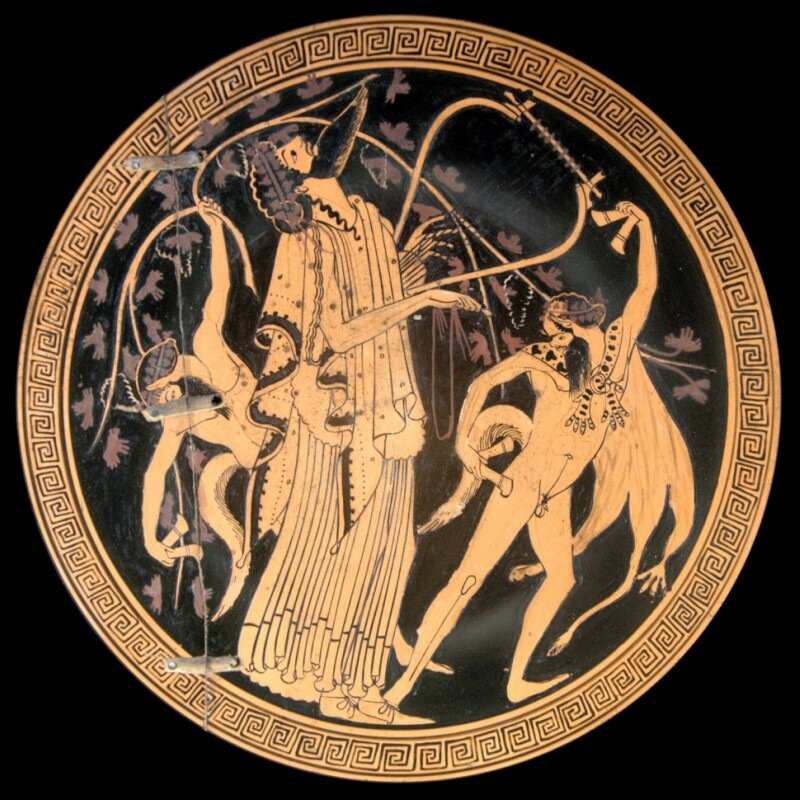 Килик с Дионисом и сатирами