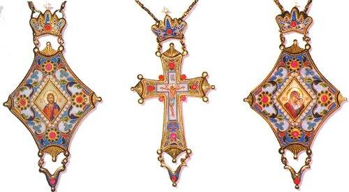 Комплект двух панагий и наперсного креста с украшениями в память празднования 1000-летия Крещения Руси