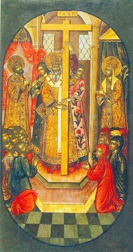 Воздвижение Креста Господня. 1690-е г. Мастера Оружейной палаты. Происходит из праздничного чина иконостаса Успенского собора в Ростове. 140х74.