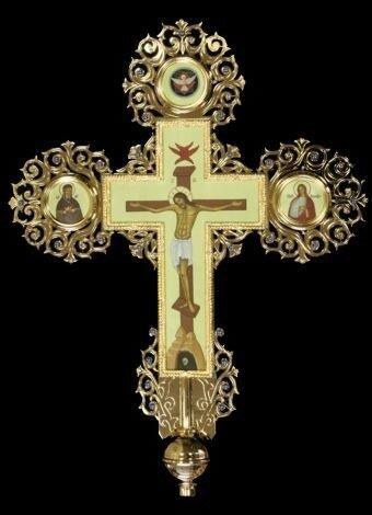 Крест-икона запрестольная, гравировка, камни