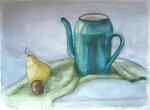 чайник, груша и чеснок.