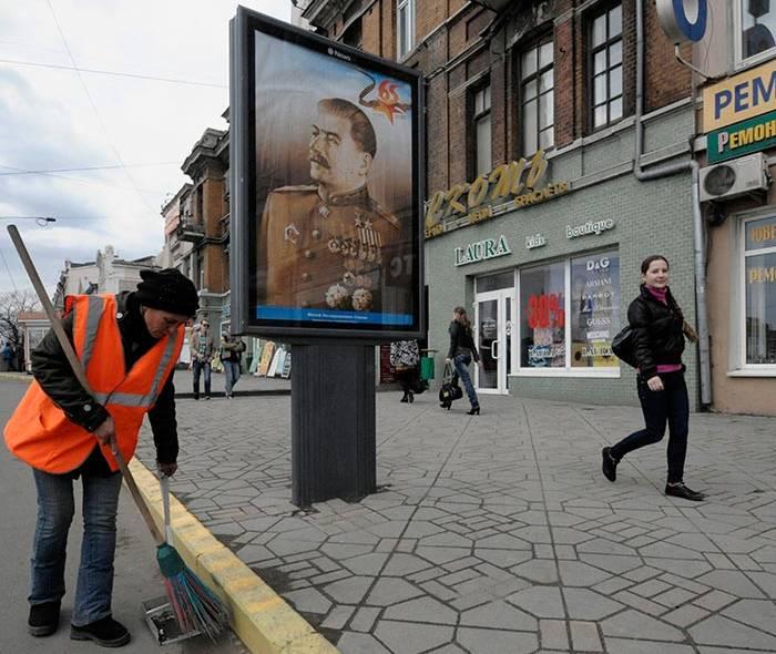 В центре Владивостока ко дню Победы вывесили портрет Сталина (ФОТО)