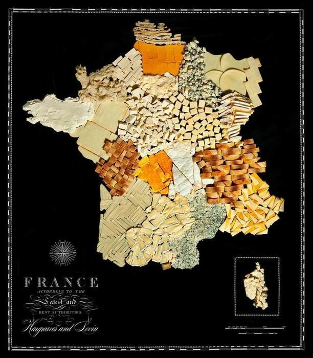 Карты мира, изготовленные из национальных пищевых продуктов