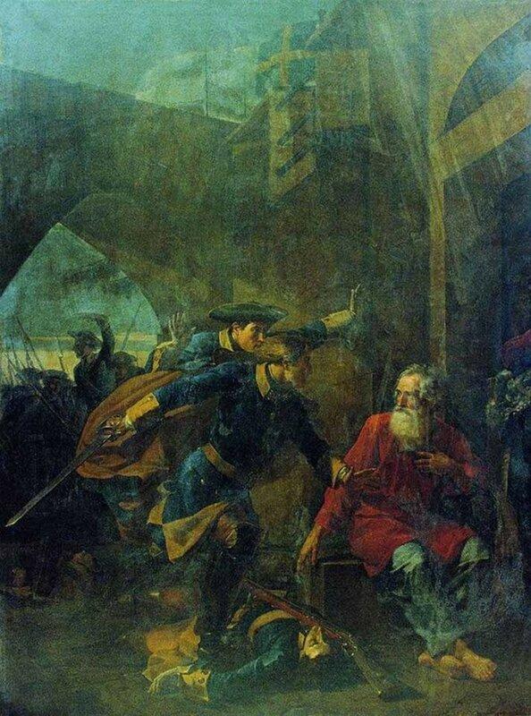 Василий Шебуев. Подвиг купца Иголкина (1839 г.). Государственный Русский музей.