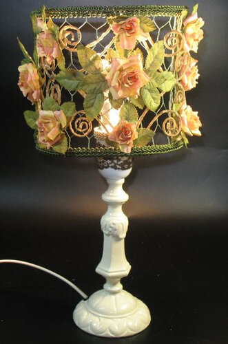 лампа хендмейд с цветами