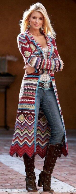 Вязаная одежда в стиле хиппи