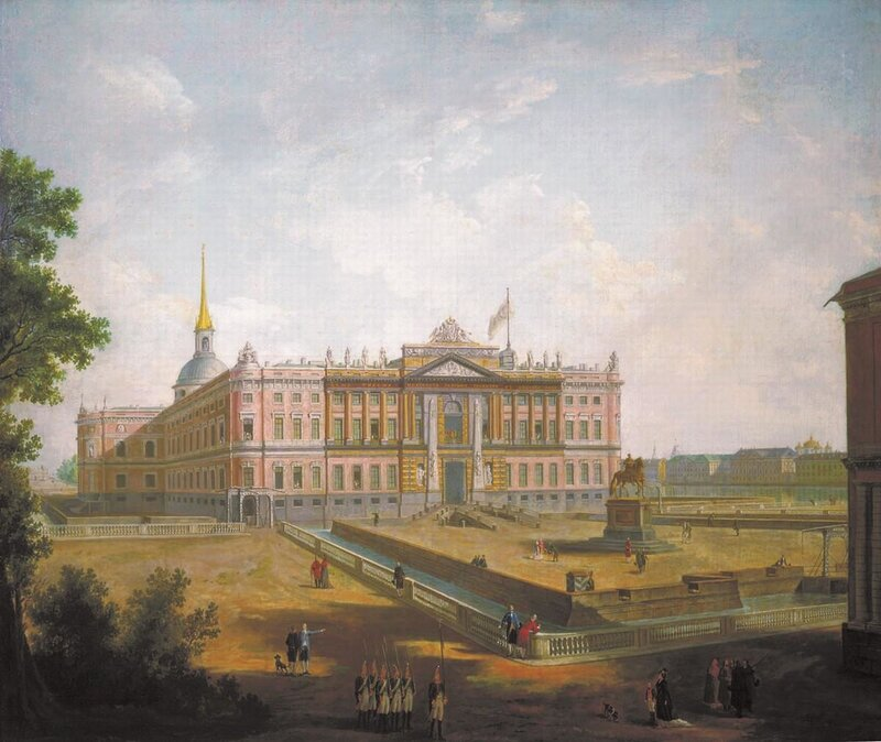 Вид на Михайловский замок и площадь Коннетабля в Петербурге. Около 1800