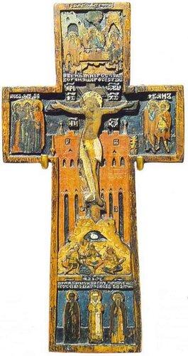 Икона-крест с изображениями: Распятие с предстоящими ; Ветхозаветная Троица ; Избранные святые