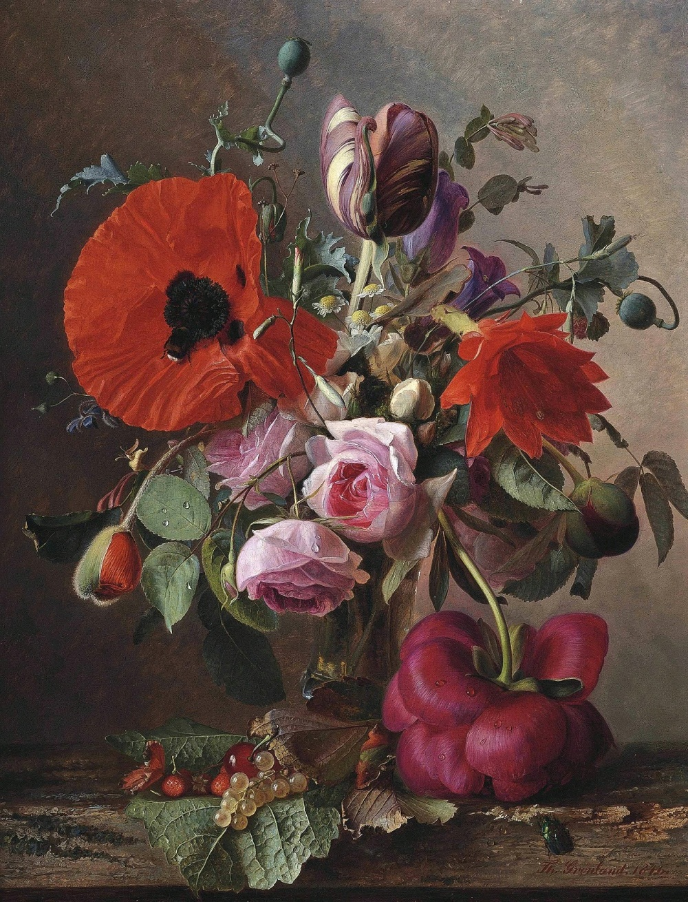 Theude Grönland (German, 1817-1876)Poppies, tulips and roses in a vase by strawberries and grapes on a wooden