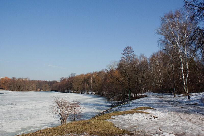 Заснеженный берег пруда. Весна
